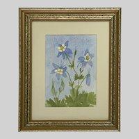 Miriam Hartig, Colorado Columbine Flowers Watercolor Painting