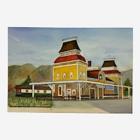 The Old Train Station Watercolor Painting