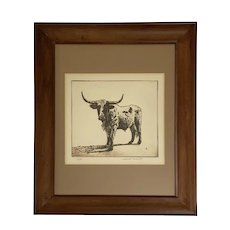 Jack White, Longhorn Bull Etching Artist Proof Limited Edition Texas Artist