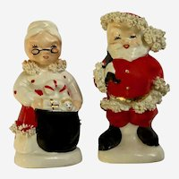 Vintage Napco Christmas Santa and Mrs Claus Salt and Pepper Shakers Spaghetti