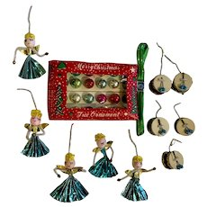 Mid-Century Miniature Glass Ornaments Pipe Cleaner Drums & Angels Group