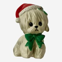 Vintage Lefton Christmas Puppy English Sheep Dog Figurine Santa XH7069