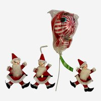 Mid-Century Christmas Pipe Cleaner Santas and Candy Cane Squirrel