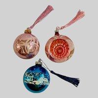 Mid-Century Mercury Glass Christmas Ornaments Silent Night New Tassels Group