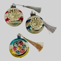 Mid-Century Mercury Glass Silver Colored Christmas Ornaments New Tassels Group