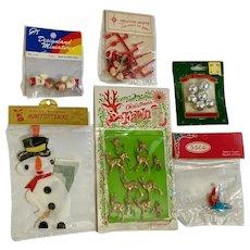 Mid-Century Christmas Decoration Reindeer Fawn Figures Snowman Santas Ornament Group