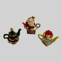 Three Christmas Miniature Teapots Santa Tree & Gifts Ceramic Figurines Dollhouse