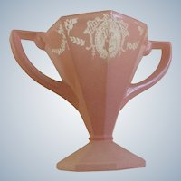Art Deco Sherbet Glass Lady Dancer Pink Frosted Flower Vase