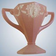 Art Deco Sherbet Glass Lady Dancer Pink Frosted Flower Vase