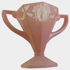Art Deco Sherbet Glass Lady Dancer Pink Frosted Depression Flower Vase