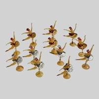 12 Vintage Ballerina Cake Toppers Silver & Gold Colored Tutu's 1970s