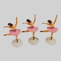 Vintage Large Ballerina Cake Toppers Three Pink Tutu's