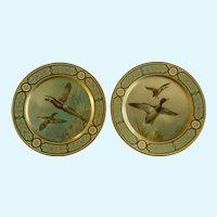 Baret Ware Toleware Tin Serving Plates Pheasants & Ducks England 1952