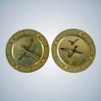 Baret Ware Toleware Tin Serving Plates Pheasants & Mallard Ducks England 1952