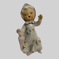 Mid-Century Little Girl with Small Roses & Umbrella Ceramic Figurine