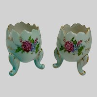 Mid-Century Napco Cracked Egg Floral Footed Easter Matching Blue Ceramic Vases