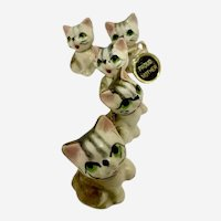 Proud Mother Five Lost Kittens Chained Animals Ceramic Cat Figurines