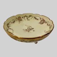 Gorgeous Three Footed Floral Victorian Lady Transferware Dish