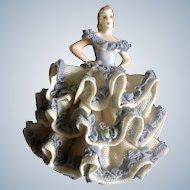 Muller Volkstedt Irish Dresden Lace Lady Figurine Rare Ireland Dancer Müller & Co. (1907 - 1949)