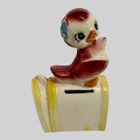 Mid-Century Adorable Anthropomorphic Bird Ceramic Postage Stamp Holder