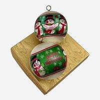 1970s Hallmark Snowman Satin Ornaments NIB