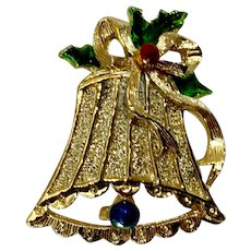 Christmas Bell Brooch Pin Gold-Tone and Enamel Gerry's