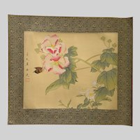 Chinese Flowers and Butterfly Casein Watercolor Painting