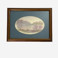 Pink Trees of Spring River Landscape Oil Painting