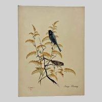 A Tsbell, Indigo Bunting Bird and Insect Mixed Media Painting Audubon Society