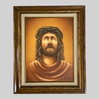 Jesus Portrait Icon With Crown of Thorns Oil Painting