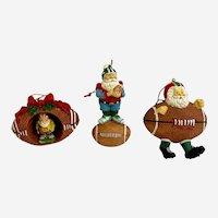 Vintage Dillard's Football Sport Santa Claus Christmas Ornaments