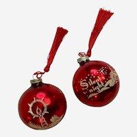 Mid-Century Silent Night & Candle Christmas Tree Mercury Glass Ornaments