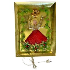 Mid-Century Raylite Christmas Angel Electrical  Light Up Plaque