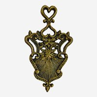 Footed Brass Trivet Old Man Winter Heart & Snowflake