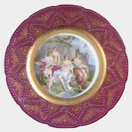 Imperial Lady Bathers Plate Hand Painted Embossed Gold Maker's Mark with a #5 in Crown