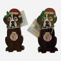 Joy Christmas Saint Bernard Dog Wood Plaques