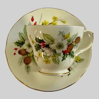 Duchess Teacup & Saucer Seasons Winter Christmas Holiday Floral Holly England Discontinued