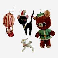 Mid-Century Christmas Anthropomorphic Ornaments Black Scaredy Cat, Bear, Santa, Deer Group