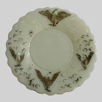 Vintage American Eagle Emblem Milk Pressed Glass Gold Highlights Plate