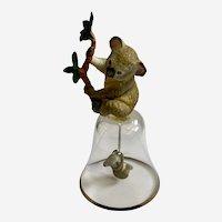 Franklin Mint Koala Bear Crystal Bell Silver Rim with Baby Joey Clapper