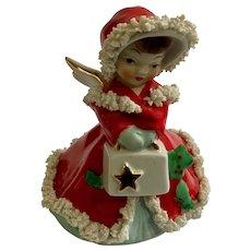 Mid-Century Christmas Girl with Spaghetti Trim Made in Japan Figurine