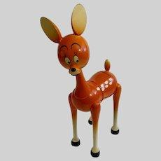 Vintage Christmas Fawn Deer Wood Bank Made in Spain Hand Painted Figurine
