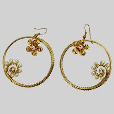 Gold-Tone Earring Loops with Seed Pearls and Flowers