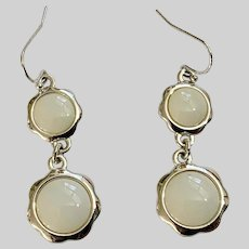 LC Drop Earrings Dangling Silver-Tone and White Flowers
