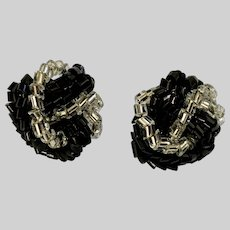 Black and Silver-Tone Beaded Cluster Stud Post Earrings