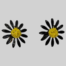 Clip-On Black and Yellow Daisy Flower Earrings