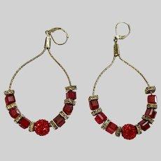 Ruby Red and White Crystal Rhinestone Beaded Loop Earrings