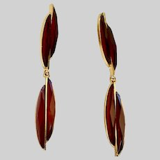 Long Thin Earrings with Red and Gold-tone