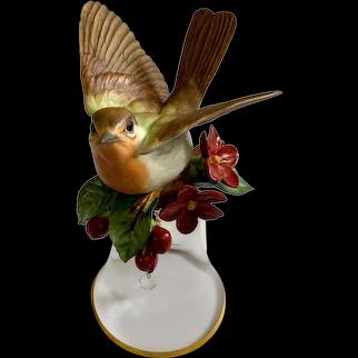 Franklin Mint European Robin Porcelain & Crystal 24K Gold with Bird Bell