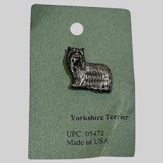 Yorkshire Terrier Dog American Pewter Works 1986 Lapel Pins